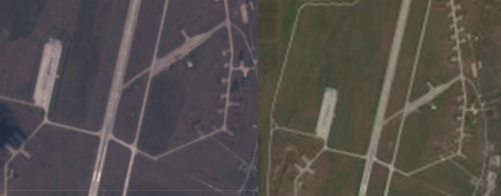 Satellite imagery of Gvardeiskyy airbase from Digital Globe (left) and Sentinel (right) on March 18, 2019